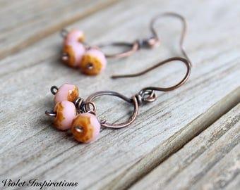 Copper Hoop Earrings / Czech Glass / Rose Colored Earrings / Wire Wrapped Earrings / Wire Wrapped Jewelry / Lightweight Earrings