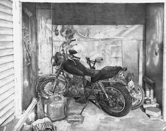 Old Motorcycle Print