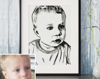 Unframed - Custom Portrait - One Person - Hand drawn from photo, Hand Drawn Portrait , Custom Pen Drawing, Drawing with Pen, Pen Drawing