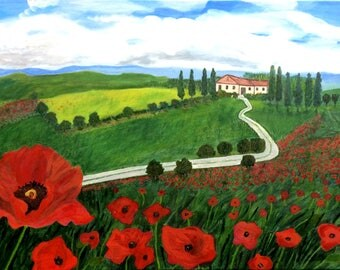 Red Poppies in The Landscape