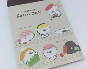 Kawaii Cute Kotori Sushi Zushi  Mini Memo Pad direct from Japan Stationary School Office Supply Planner Kitsch 100 Sheets