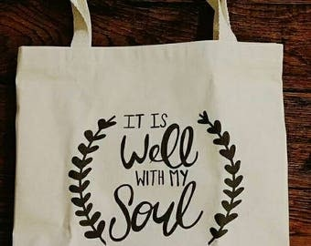 "Large Canvas Tote ""It Is Well With My Soul"""