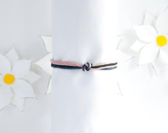 Pink Blue Bracelet | Simple Knotted Hemp Bracelet | Stackable Bracelet | Handmade Jewelry | Adjustable Bracelet | Gifts for Women