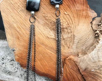Glass bead and chain earrings