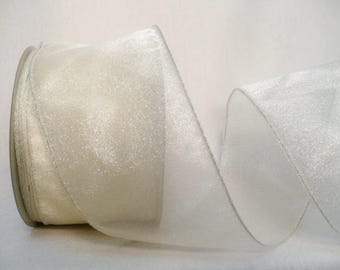 """Off white semi sheer, wedding off white semi solid wired 2.5"""" x 5 yards"""
