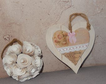 wooden heart hanging shabby chic