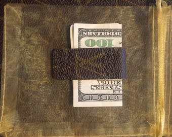 Moneyclip with upcycled monogram canvas