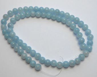6mm Blue Beads Light Blue Jade Rounds 15 inch Strand 68 Beads Stone Gemstone