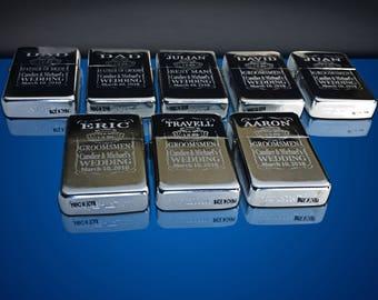 10 Engraved lighters - Custom engraved refillable lighter in box - Personalized Groomsmen gift - Laser engraved custom wedding gift set