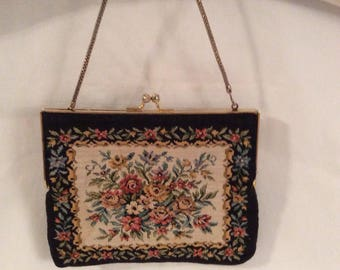 Antique  Hand embroidered Tapestry hand bag