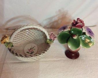 Vintage Capodimonte  small basket and vase ot flowers