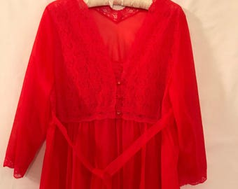Vintage red Negligee gown and sheer Negligee long wrap