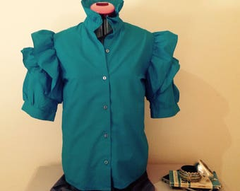 Retro 80s Bright turquoise spanish ruffled sleeves and ruffle collar blouse size 12