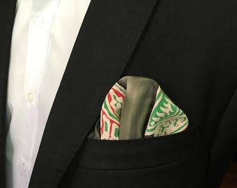 "Red and Green ""Tropical"" Silk Pocket Square"
