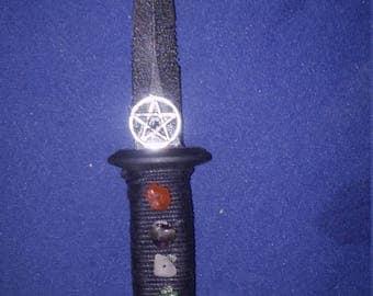 Crystal Pentagram Wiccan Athame