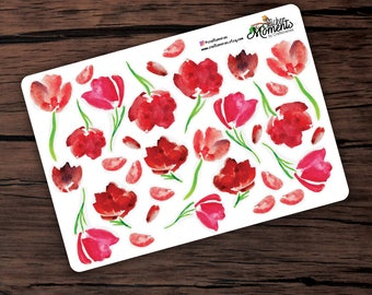 Red Tulips Sticker Sheet Planner Scrapbooking