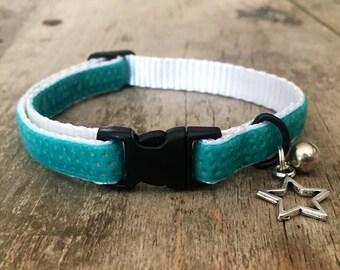 Turquoise velvet dots cat collar