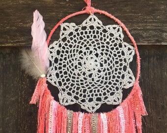 Dream catcher, handmade, pink, gray