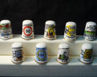 Thimbles Historic Days in March Set of 9 Commemorative Birchcroft Fine Bone China Thimbles