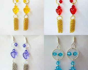 Colourful heart shapes with silver and  gold drop earrings