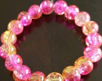 Pink lemonade beaded bracelet