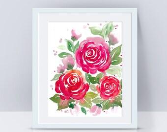 Rose print, Flower prints, Flower art, Watercolor flowers, Nursery decor, Wall art print, Flower painting, Floral painting, Rose painting