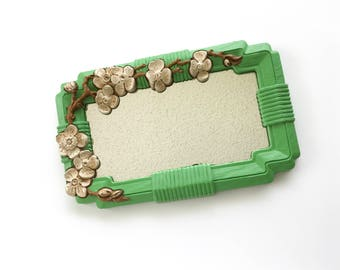 Vintage 1960s Dogwood Flower Framed Mirror, Green, White, & Brown