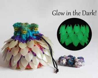 Rainbow Dice Bag - Glow in the Dark Bag of Holding- Scalemail Crocheted Bag- Dragon's Egg Pouch - Coin Purse - DnD