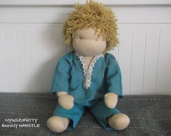 """16"""" Waldorf Boy Doll, Waldorf Inspired Doll, Custom Made, All Natural, Wool Stuffing, Handstitched Doll, Handsewn Doll"""