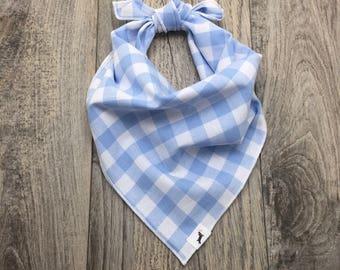 Blue Plaid Dog Bandana, Dog Bandana, Pet Bandana, Gingham Cotton Bandana, Pet Gift, Dog handkerchief, #dog, Dog Scarf