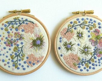Floral Hoop, Embroidery Art, Hoop Art, Wall Decor, Hand Embroidery