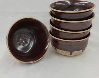 Red Stoneware Bowl Set (5)