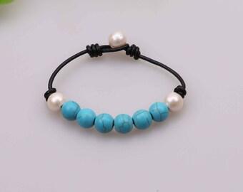 "Handknotted Freshwater Pearl Bracelet,Turquoise Bracelet,Natural Stone Jewelry,Blue Beads Bangle,Handmade Women Bracelet,8"" Wrist Band,B0033"