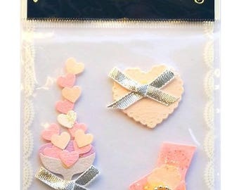 3D hearts love little creative cardmaking scrapbooking stickers