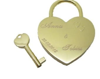 Love lock with engraved heart padlock bridge Castle