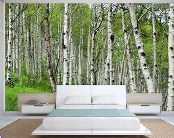 FOREST WALL MURAL, birch tree wallpaper, birch wall mural, forest wall decal, self-adhesiv, birch forest wallpaper, birch wall decal