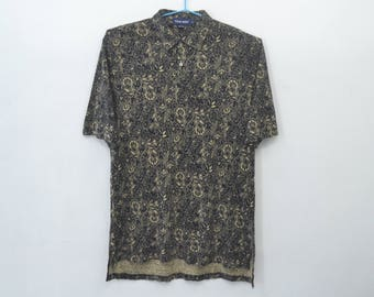 POLO Shirt Vintage 90's Polo GOLF Ralph Lauren Paisley Flower Design Polo Tee T Shirt Size L