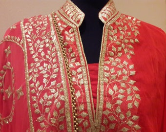 Ethnic Rajasthani Pittan work fully stitched Suit set with Palazo pant : FREE shipping in US