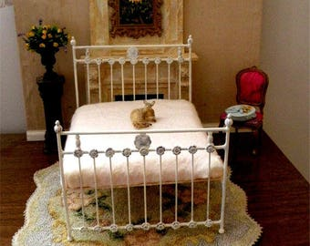 "NEW!! Our ""CHIC & CHEAP"" line is now live!  Artisan Made Dollhouse Miniature Wrought Iron Look Bed ""Tawney"" 1:12 Scale, Twin and Full"