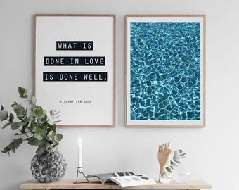What is Done in Love is Done Well, Ocean Poster, Printable Art Set, Wall Art Set, Modern Decor, Printable Wall Art, Unique Wall Decor