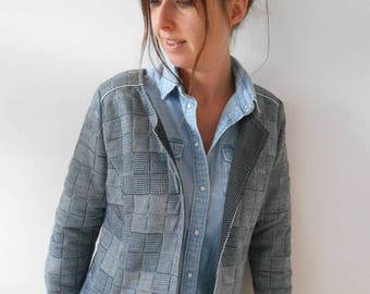 Fitted vest blue gray woman original chic patchwork by Mesketa fleece
