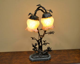 Cherub See Saw Lamp-Bronze With Marble Base