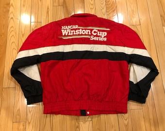 Vintage NASCAR Winston cup series windbreaker jacket 1990's Racing Red white and black colorway Yamaha motorcycles Jeff Gordon Large