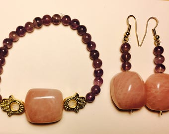 Rose Quartz and Amethyst Bracelet Set
