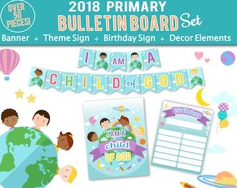 Primary LDS 2018 Bulletin Boart Set Kit Printable I am a child of God Sharing Time Digital Print Instant Download, Printable