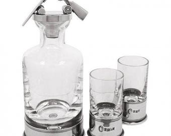 Shotgun Decanter with solid pewter bottoms + 2 shot glasses. A unique stand out item for those who like to drink with class! Engraved.