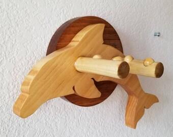 Ukulele wall mount hanger - Bottlenose Dolphin - Pine on Chestnut finish