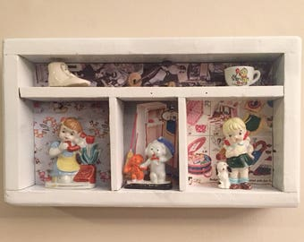 Kitschy Shadow Box With Occupied Japan Figurines
