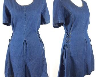 Vintage 80s 90s Denim Romper Lace Up Corset Tie Side Mini Dress Size 13 / 14