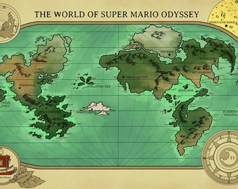 Mario map etsy a map of super mario odysseys world gumiabroncs Gallery